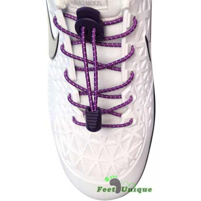 3mm Elastiska skosnören - Lila med ränder