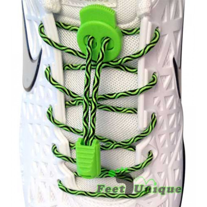 3mm Elastiska skosnören - Grön/svarta