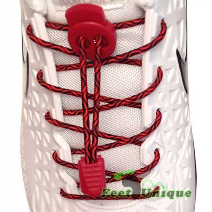 3mm Elastiska skosnören - Röd/svarta