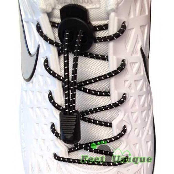 3mm Elastiska skosnören - Svarta, reflex