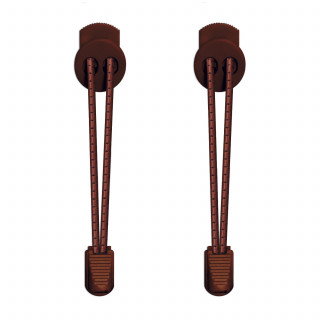 3mm Elastiska skosnören - Mörkbruna med ränder