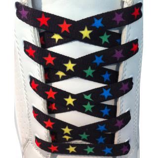 Skosnören - 10mm Svarta Med Färgglada Stjärnor
