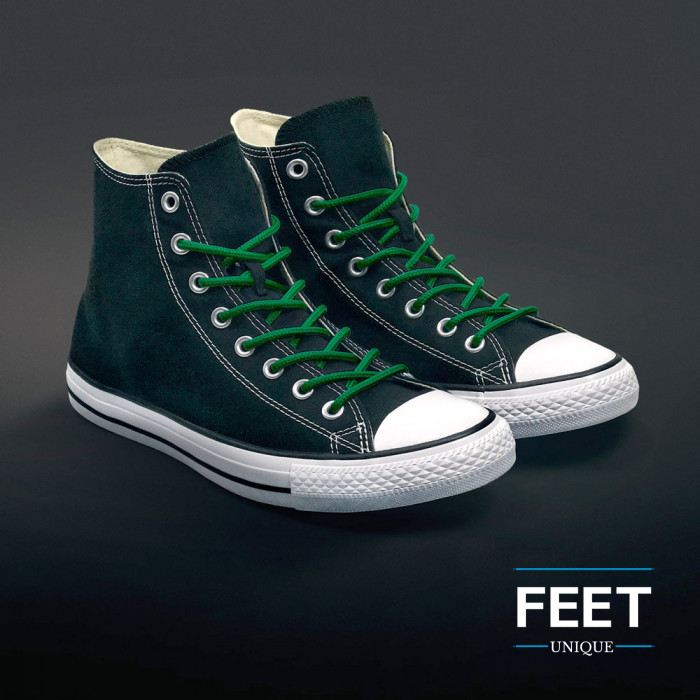 Round green shoelaces