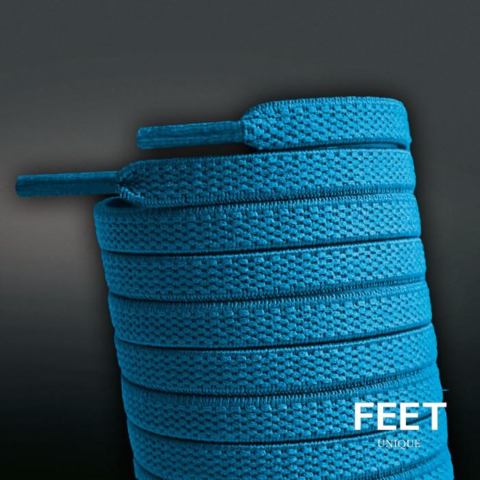 Elastiska platta turkos-blåa skosnören (knytfria)