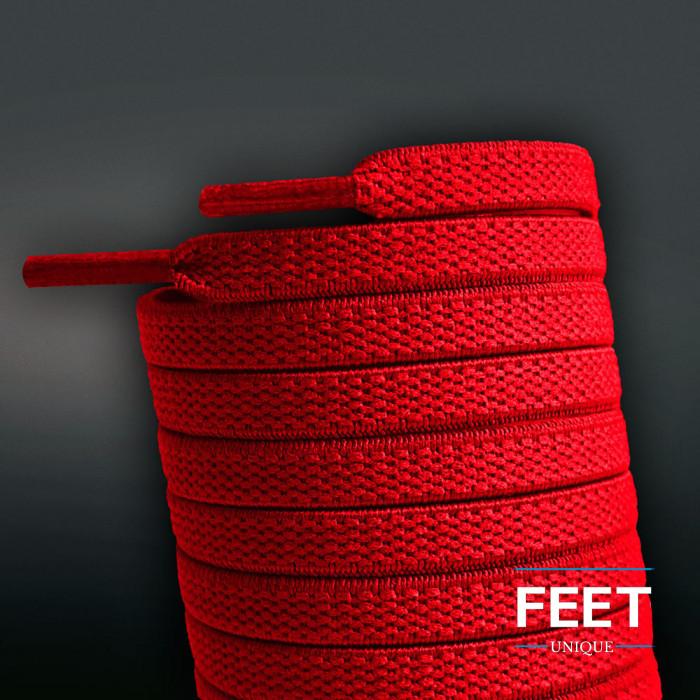 Elastiska platta röda skosnören (knytfria)