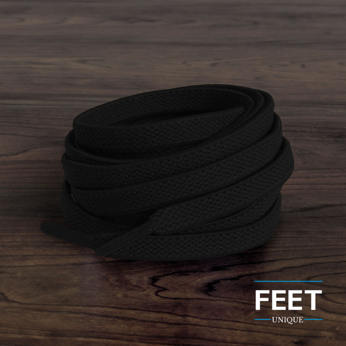 Elastiska platta svarta skosnören (knytfria)