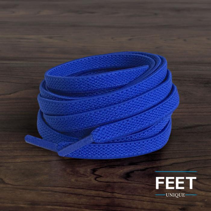 Elastiska platta blå skosnören (knytfria)