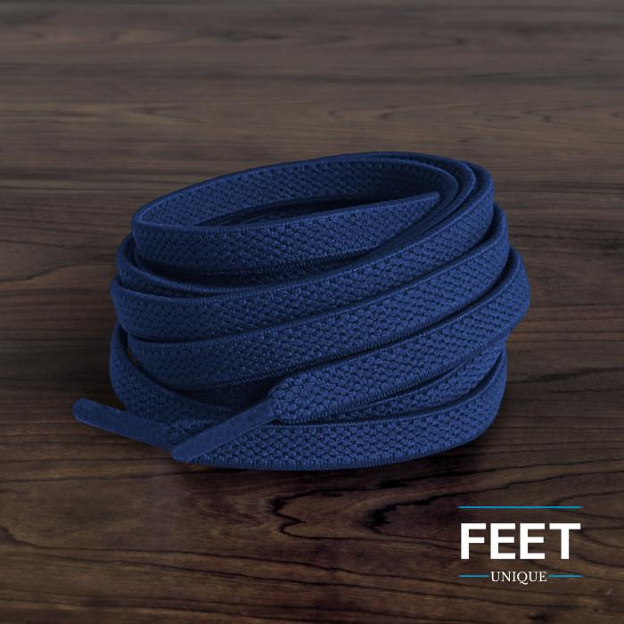 Elastiska platta marinblåa skosnören (knytfria)