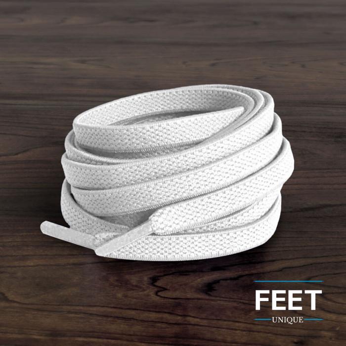 Elastiska platta vita skosnören (knytfria)