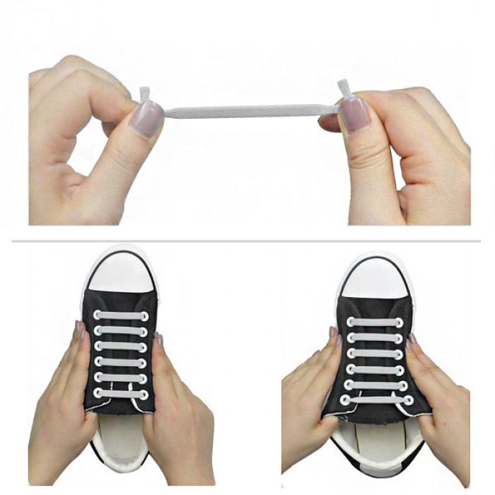Ljusgrå elastiska silkonskosnören (No-tie)